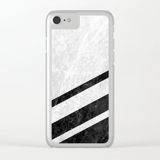 White Striped Marble Clear iPhone Case