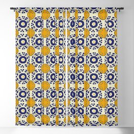 Talavera Mexican tile inspired bold design in blue and yellow Blackout Curtain