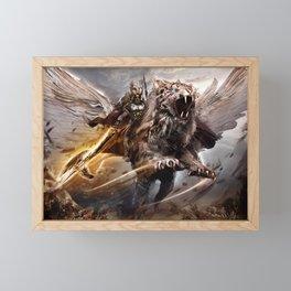 Fantasy Warrior Spear Armor Animal Framed Mini Art Print