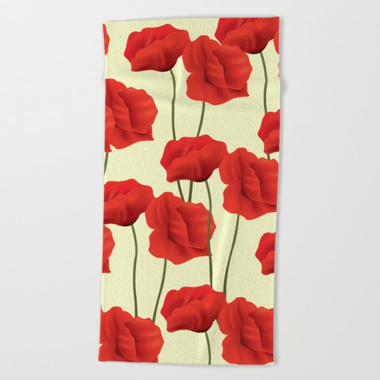 Red flowers #society6 Beach Towel