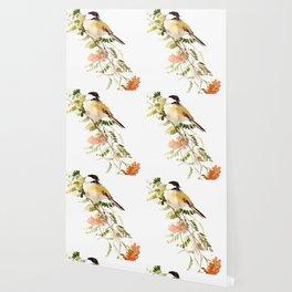 Chickadee Asian Style Bird and Flowers Zen brush painting Wallpaper