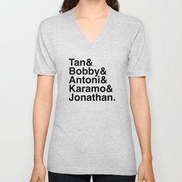 Queer Eye Helvetica Names Tan Bobby Antoni Karamo Jonathan Unisex V-Neck