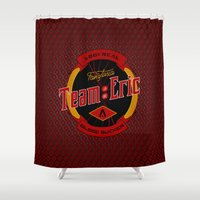 eric fan Shower Curtains featuring Team Eric by Papercut Designs