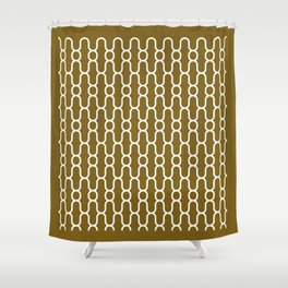 X Snowflake Pattern Gold Shower Curtain
