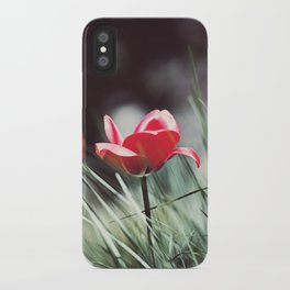 Red Tulip Flower Photography, Floral Green Grass, Red Nature Botanical Art iPhone Case