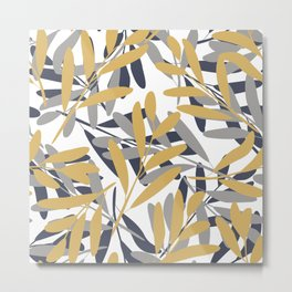 Prints of Leaves, Navy, Gray and Mustard Yellow, Design Prints Metal Print