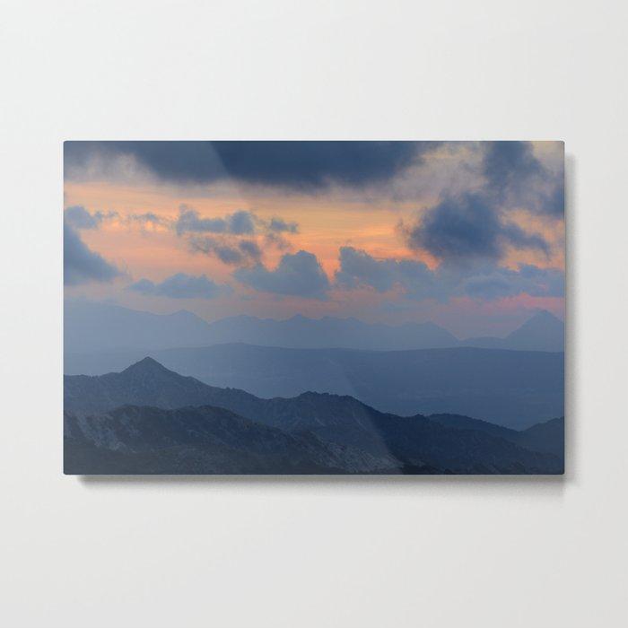 """Sunset at mountains"" Mountain light Metal Print"