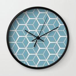 Sea Foam Blue Geometric Pattern Wall Clock