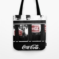 coca cola Tote Bags featuring coca cola by Crimson Crazed