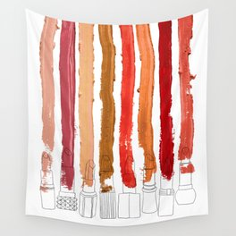 Lipstick Stripes - Red Orange Gold Wall Tapestry