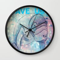 manatee Wall Clocks featuring Whimiscal Manatee by Judy Skowron