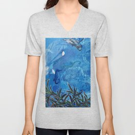 Whale and Seahorse Unisex V-Neck