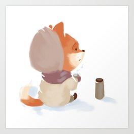 Winter Fox Drink Art Print
