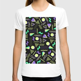 Geometrical retro lime green neon purple 80's abstract pattern T-shirt