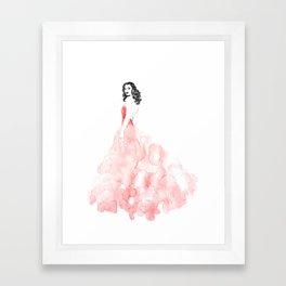 Fashion illustration pink long gown Framed Art Print