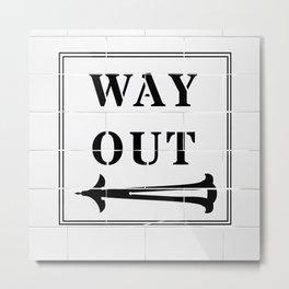 Way Out Sign, Subway Tiles, Left Arrow. Humour, Comedy. Metal Print