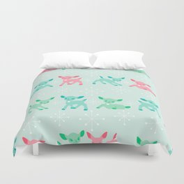 Pink, Turquoise, and Jadeite Deer Duvet Cover