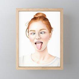 Ginger - Redhead Girl Watercolor Portrait Framed Mini Art Print