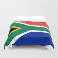 south africa Duvet Covers featuring Flag of South Africa by Neville Hawkins