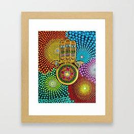 Hamsa Hand, hand of fatima, mandala, yoga art, mandala art, meditation art Framed Art Print
