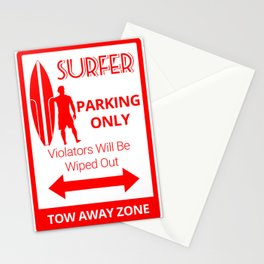 Surfer Parking Only Stationery Cards