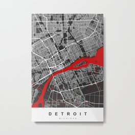 Detroit Map Michigan | Black & Red | More Colors, Review My Collections Metal Print
