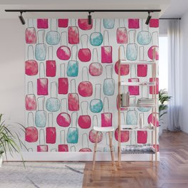Nail Polish | Duck Egg and Cherry Red Pattern Wall Mural