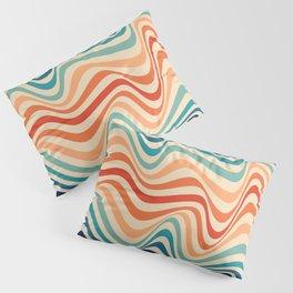 Retro 70s Color Palette   Optical Wave Illusion Pillow Sham