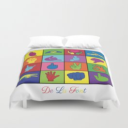 Hand Signs Rubik by DeLaFont Duvet Cover