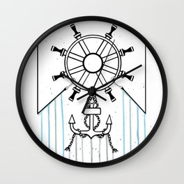 Steering Helm and Anchor Wall Clock