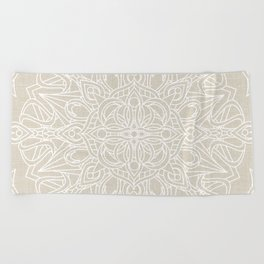 White Lace Mandala on Antique Ivory Linen Background Beach Towel