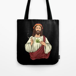 Weed Smoking Jesus Christ - Cannabis Stoner THC Tote Bag