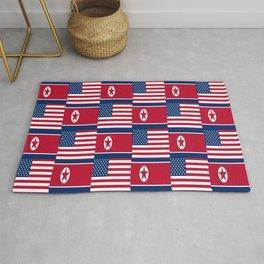 Mix of flag: USA and North Korea Rug