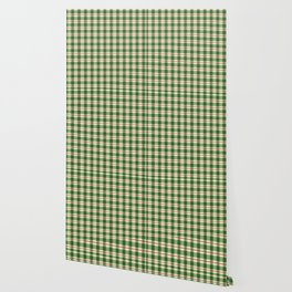 Plaid Pattern in Green and Beige Wallpaper