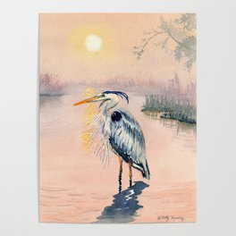 Great Blue Heron at Sunset Poster