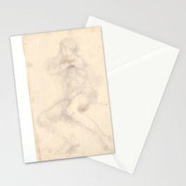 Nude Man, sitting, about 1950. Stationery Cards