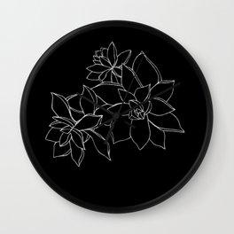 Succulents B&W Wall Clock