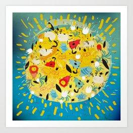 Lot of animals on the sun Art Print