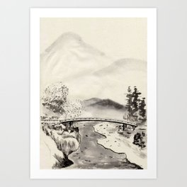 Chinese Ink and Brush Painting of Trees and Mountains Art Print