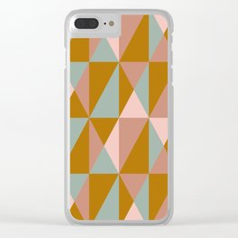 Modern Triangle Quilt Design in Subdued Earth Tones Clear iPhone Case