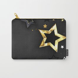 Gray Background with Black Stars Carry-All Pouch