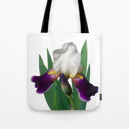 Violet and white Iris 'Wabash' Tote Bag