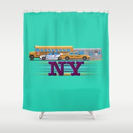 NY Pixel Shower Curtain