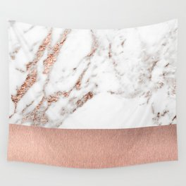 Rose gold marble and foil Wall Tapestry
