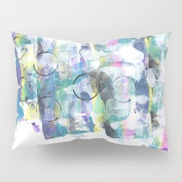 Green Blue Abstract with Black Circles Pillow Sham