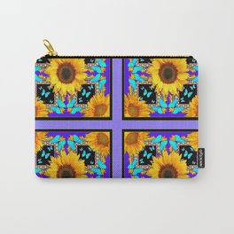 Lilac Purple Yellow Sunflowers & Turquoise Butterflies Patterns Carry-All Pouch