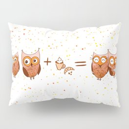 Cute owls with coffee and croissant Pillow Sham
