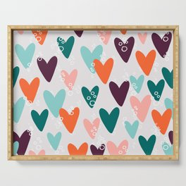 Colored hearts seamless pattern Serving Tray