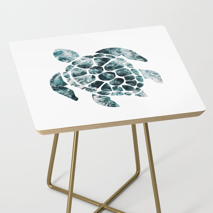 Sea Turtle - Turquoise Ocean Waves Side Table