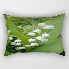 Pure White Lily of the Valley Flower Macro Photograph Rectangular Pillow